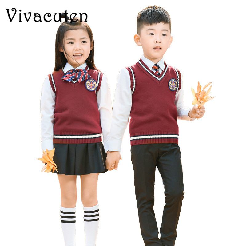 Girls Boys School Uniforms Kids Formal British Style Performing Suit Shirt Sweater Pant Skirt Tie Badge Set Costume Clothes F114