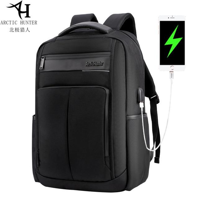 ARCTIC HUNTER 15.6 นิ้ว Professional กันน้ำแล็ปท็อปกระเป๋าเป้สะพายหลัง USB กระเป๋าเป้สะพายหลังกีฬา Casual โน้ตบุ๊คกระเป๋าเดินทางชาย 2019