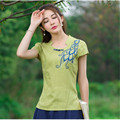 Summer Art Style Embroidery Linen Casual Tops Womens Blouses Short Sleeve Loose New Ethnic Official Wear Clothes