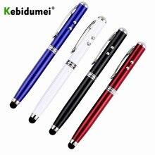 Kebidumei الملونة 4 في 1 LED الشعلة شاشة تعمل باللمس ستايلس الكرة قلم ليزر مؤشر للأقراص LED الشعلة شاشة تعمل باللمس ستايلس الكرة
