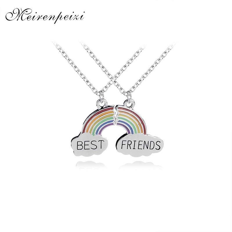 rainbow Stitching <font><b>BFF</b></font> Necklaces girls Best Friends forever For 2 Broken rainbow bridge charm Necklace flower friendship birthday image