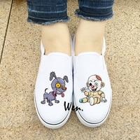 Wen Original Design Custom White Black 2 Colors Slip On Shoes Pretty Scary Cartoon Zombie Doll