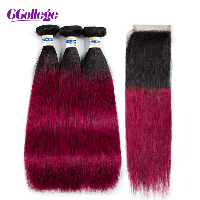 T1B Burgundy Straight Hair 3 Bundles With 4 4 Closure Brazilian Human Hair Bundles Deals With