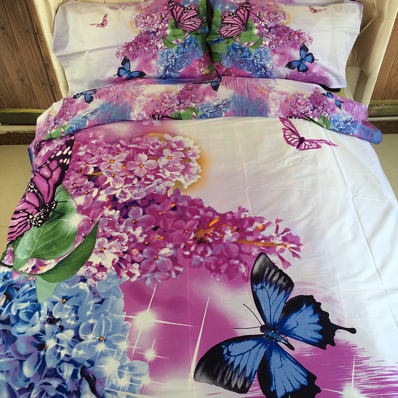 3D Purple Butterfly Floral Bedding Sets 100% Cotton Bed Sheets Bedding Pillowcases Queen Size Full Quilt Duvet Covers Bed