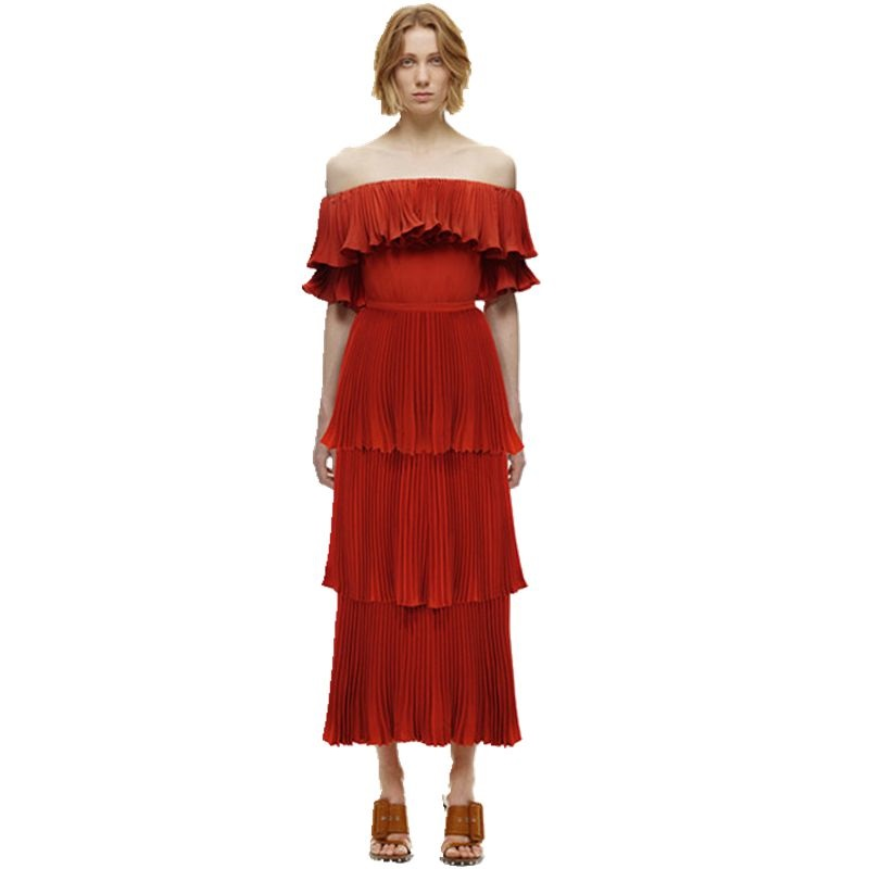Self Portrait Summer Runway beach dress women Sexy Off The Shoulder Cascading Ruffle Pleated Mid-calf Red white Long Dress