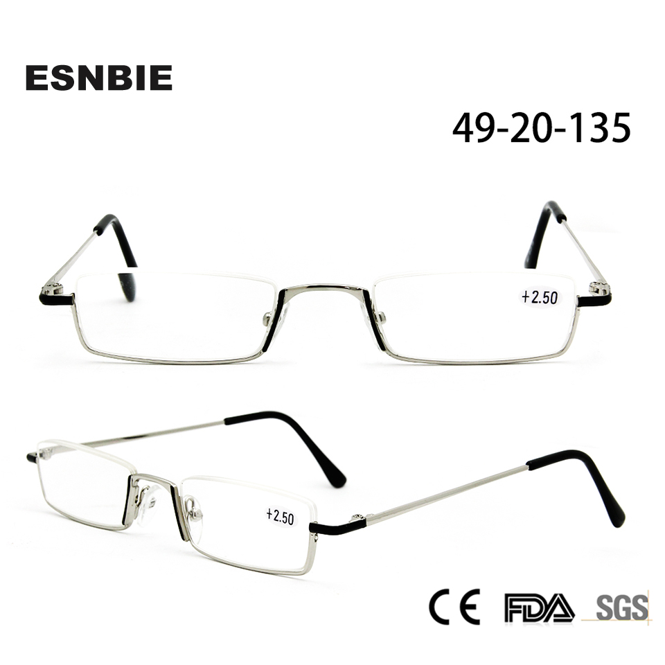 ESNBIE Half Frame Glasses Men Reading Glasses 1.00,1.50, 2.00,2.50,4.00 Presbyopia Lens with Accessary Hand Made Cases