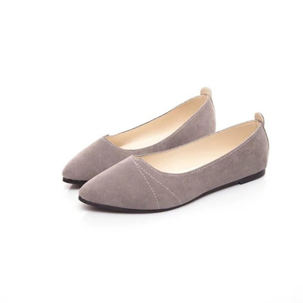 YJSFG HOUSE 2018 Women   Suede   Flats Fashion Black Gray Pointed Toe Ballerina Ballet Flat Shoes Flock   Leather   Slip on Women shoes