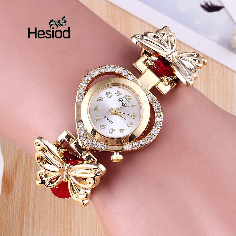 Hesiod Women Wristwatch Ladies Heart Dial Watch Clock Female Stainless Gold Color Butterfly Bracelet Watch
