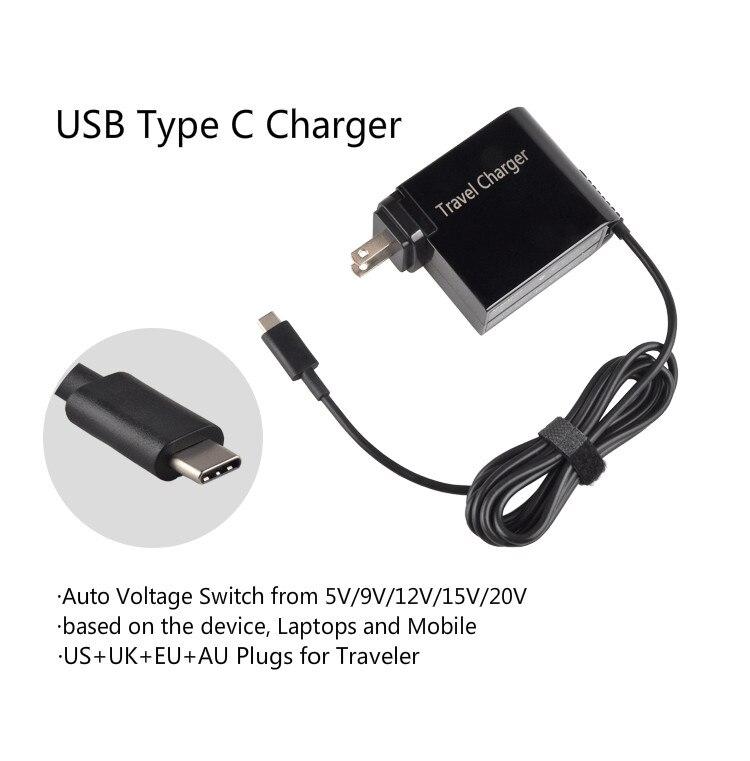20 V 3.25A 65 W Universal USB Type C Ordinateur Portable Mobile de Puissance de Téléphone adaptateur Chargeur pour Lenovo Asus HP Dell Xiaomi Huawei Google 4 Plug