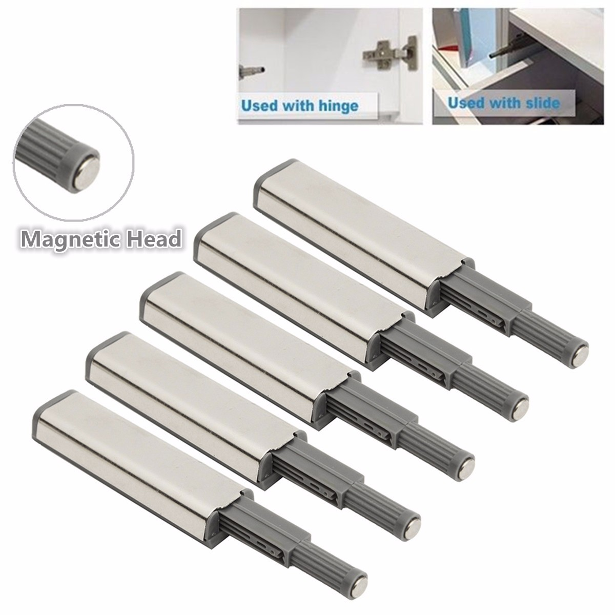 5pcs Door Catch Latch Open System Kitchen Cabinet Cupboard Drawer Buffer Soft Quiet Closer Damper Buffers Door Stopper Magnetic