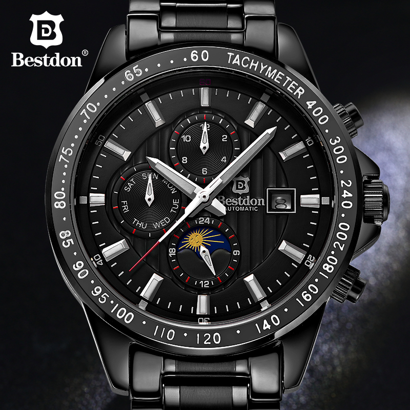 Bestdon Stainless Steel Big Dial Mechanical Watch Date Display Famou Top Brand  Men Automatic Flying Moon Phase military Watches classic ks brand automatic white moon sun display tourbillion men dress stainless steel band dress mechanical wrist watch ks071