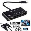 5en1 micro usb mhl a hdmi tv cable adaptador otg lector de tarjetas de teléfono para samsung galaxy s5 s4 s3 note 4 3 2 i9600 i9500 n9100 N9000