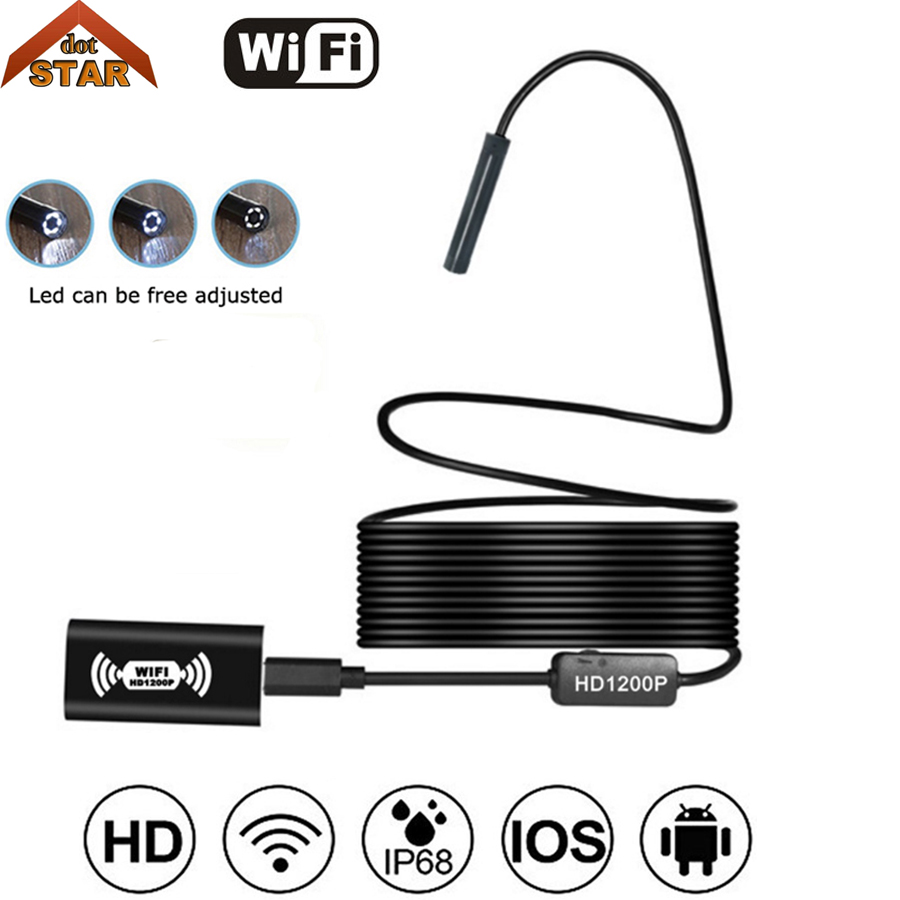 Wireless Endoscope USB, HD 1200P Wifi Borescope, IP68 Waterproof Inspection Camera with Semi-rigid Flexible cable for smartphone 2m hd 1200p wireless wifi endoscope mini waterproof semi rigid inspection camera 8mm lens 8led borescope for ios and android pc