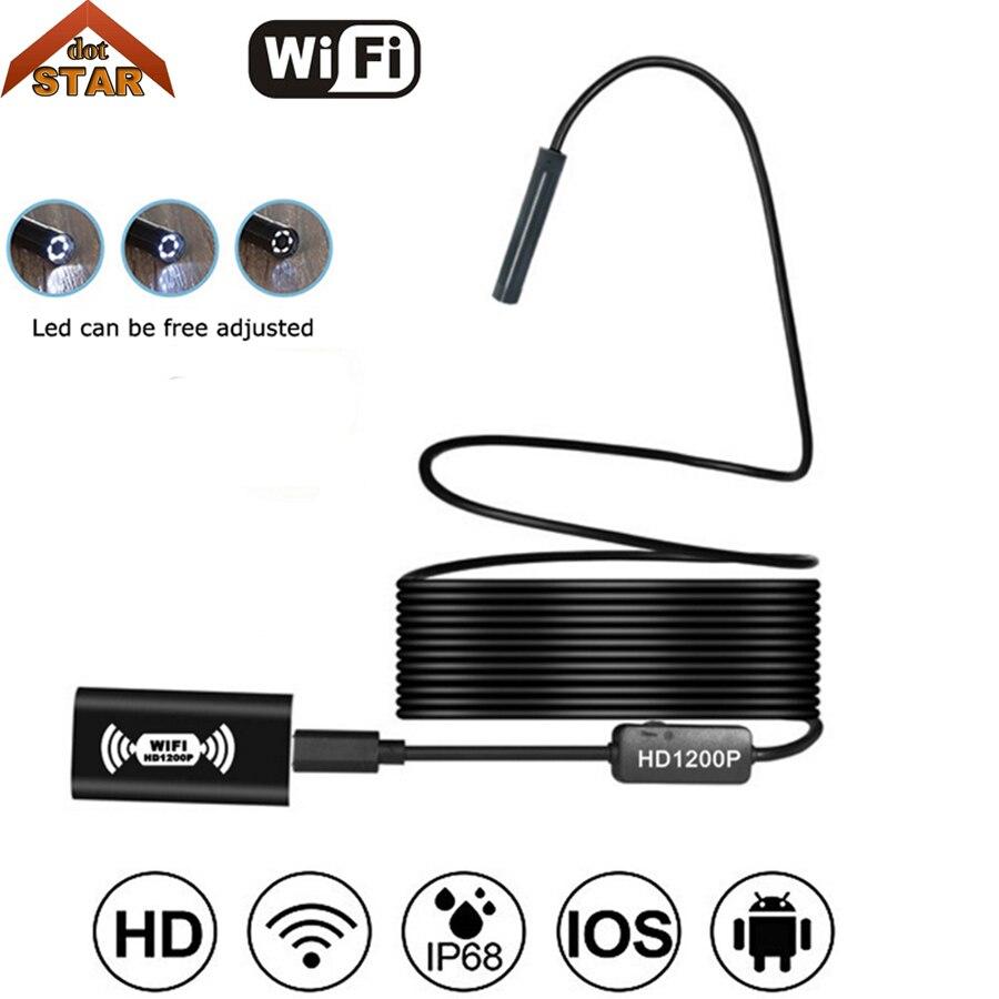 Wireless Endoscope USB, HD 1200P Wifi Borescope, IP68 Waterproof Inspection Camera with Semi-rigid Flexible cable for smartphone