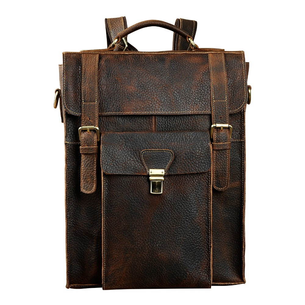 New Design Male Real Leather Casual Fashion Large Capacity Travel Bag School Bag Backpack Daypack For Men 2106 men original leather fashion travel university college school book bag designer male backpack daypack student laptop bag 9950