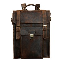 New Design Male Real Leather Casual Fashion Large Capacity Travel Bag School Bag Backpack Daypack For Men 2106