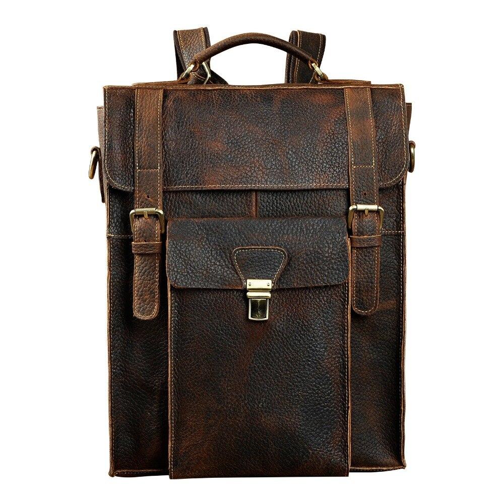 Nouveau Design mâle en cuir véritable décontracté mode grande capacité sac de voyage sac d'école sac à dos sac à dos pour hommes 2106