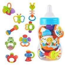Купить с кэшбэком Rattle Teether Set Baby Toys 9pcs Shake and Grap Baby Hand Development Rattle Toys for Newborn Infant