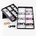 Luxury 18 Grid Sunglasses Eyewear Jewelry Watch Display Case Glasses Storage Container Holder Organizer Display Box Black Color
