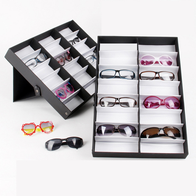 e19070b536db3 Luxury 18 Grid Sunglasses Eyewear Jewelry Watch Display Case Glasses Storage  Container Holder Organizer Display Box Black Color