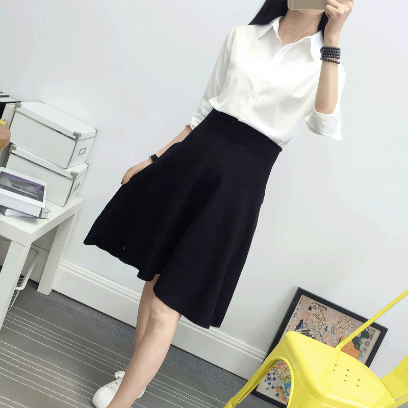 New Autumn Winter Knitted Skirt Women Midi High Waist A Line Knit Skirts One-pieces Seamles Pleated Jupe Saia High Quality