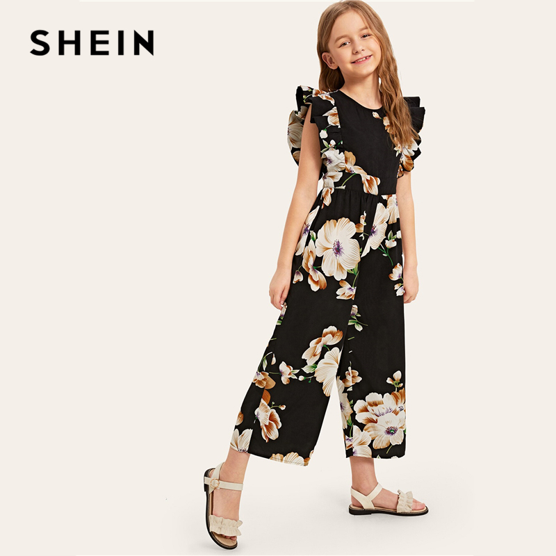 Image 5 - SHEIN Kiddie Floral Print Wide Leg Holiday Girls Jumpsuit 2019 Summer Cap Sleeve Ruffle Boho Beach Teenager Long Jumpsuits-in Overalls from Mother & Kids