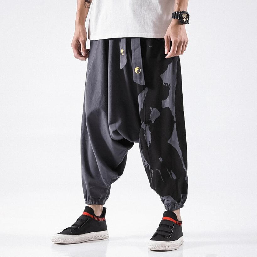 2019 Sinicism Hip Hop Aladdin Hmong Baggy Cotton Linen Harem Pants Men Women Plus Size Wide Leg Trousers New Boho Casual Pants(China)