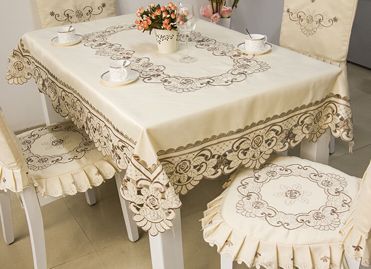 Tablecloth toalha de mesa home decor table chair cover set for Set de table matelasse