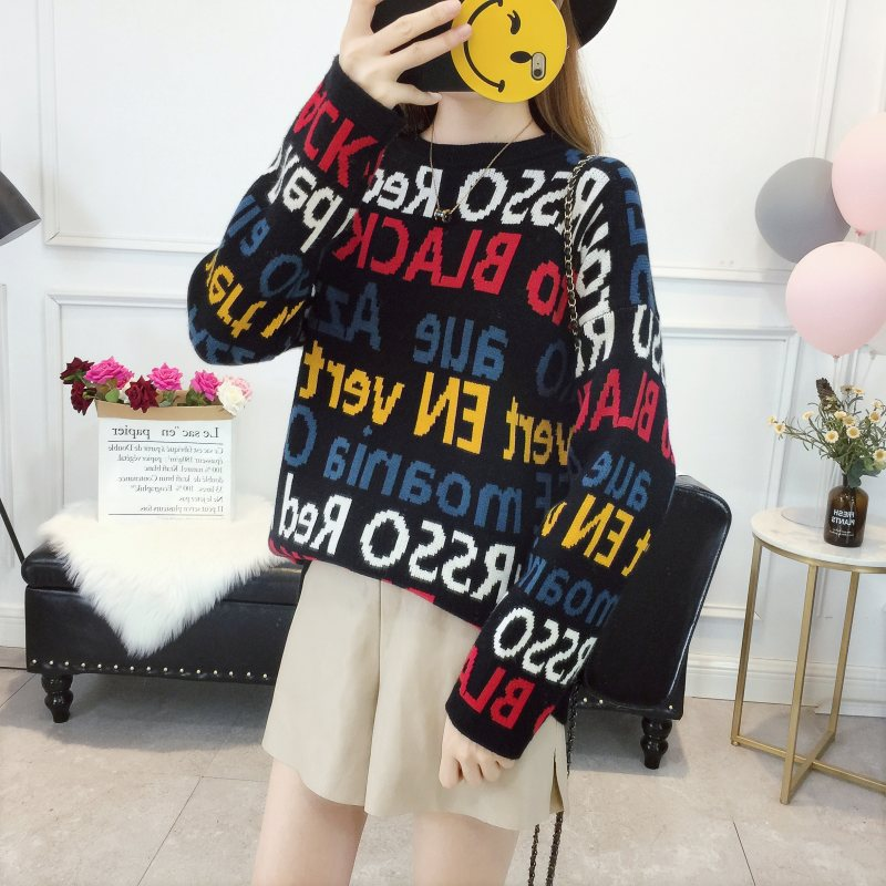 2018 Autumn Winter New European and American Sweater Women's Pullover Letter Word Loose Pullover Knitted