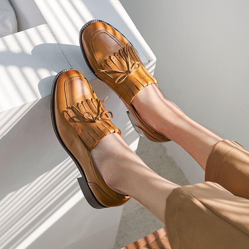 noeud Occasionnels Beautoday Carré Bout Peau Appartements La Mouton Cuir Black brown Femmes À De En Véritable Main Chaussures Mocassins 27091 Papillon IYWDH2E9