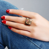 Crystal Rings For Woman Square Ring Size 6 7 8 9 New Fashion Jewelry Real 18K