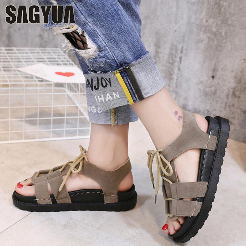 HOT SALE NEW Students Youth Beach Summer Women Stylish Sandal Girlish Peep Toe Lace Up Flat Shoes Slides Sandals Zapatillas T480 instantarts women flats emoji face smile pattern summer air mesh beach flat shoes for youth girls mujer casual light sneakers
