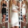 Nueva Moda Casual de Dos Piezas de Bodycon Midi Falda Set, las mujeres de Manga Larga Crop Top y Falda tubo Set Partido Clubwear Blanco Negro