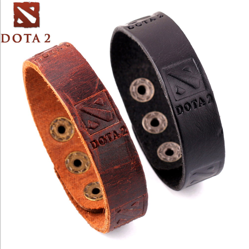 Game Dota 2 logo leather bracelet Punk Cosplay bracelets & bangles PU Braslet brown black Charm accessory jewelry Souvenir Gift