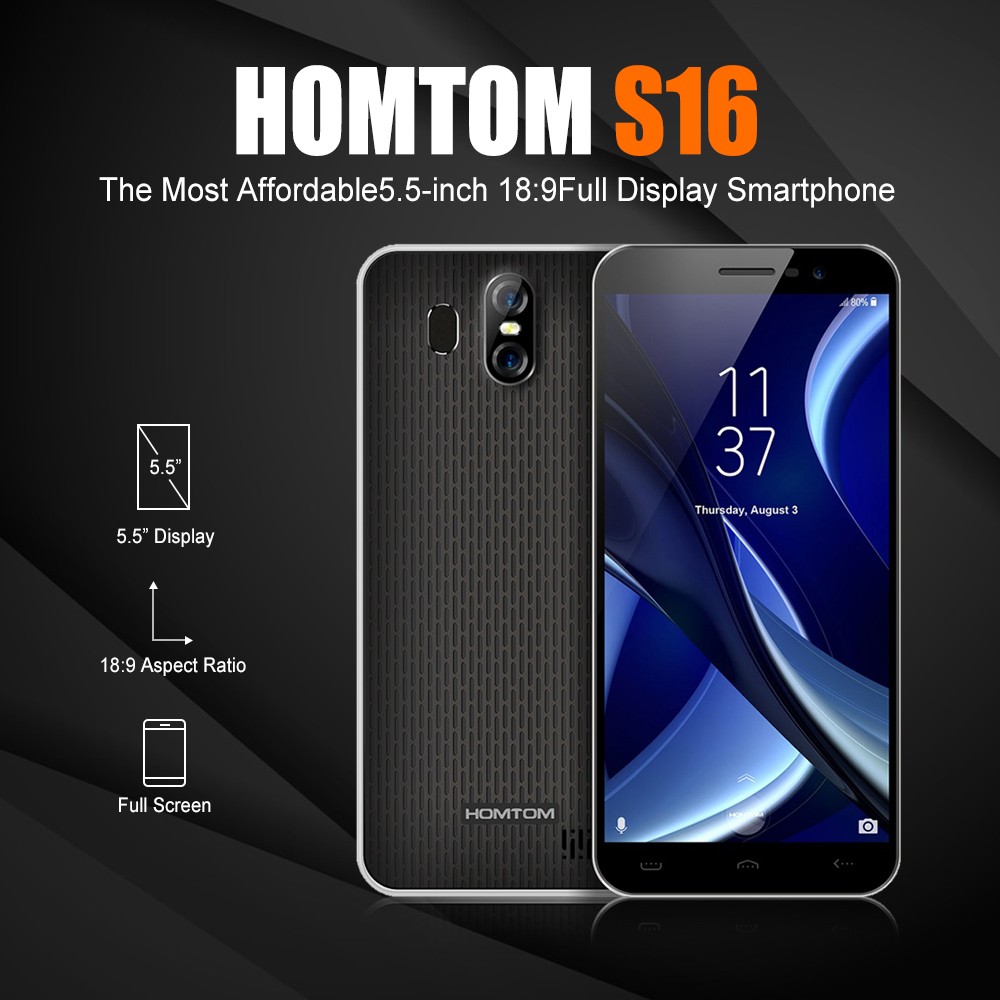 HOMTOM S16 3g Smartphone Android 7.0 MTK6580 Quad-core 1,3 ghz 2 gb RAM 16 gb ROM 5,5 zoll handy S16 Volle Bildschirm Dual Cams
