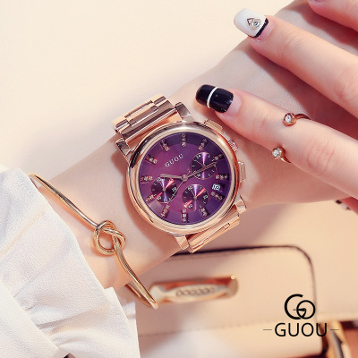 GUOU 2017 New listing Fashion Rhinestone watch women Brand Luxury stainless steel Ladies quartz watch Dress relogio feminino new top brand guou women watches luxury rhinestone ladies quartz watch casual fashion leather strap wristwatch relogio feminino