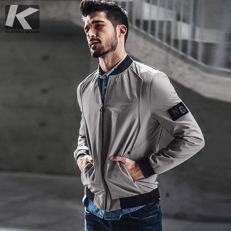 KUEGOU New Autumn Mens Casual Jackets And Coats Patchwork Black Gray Color Brand Clothing For Man's Slim Clothes Male Tops 0730