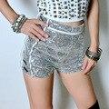 Gafas de Plata de las mujeres de Talle Alto Shorts de Lentejuelas Lado con Brillante Flaco Clubwear Caliente Pantalones Cortos de Fondo