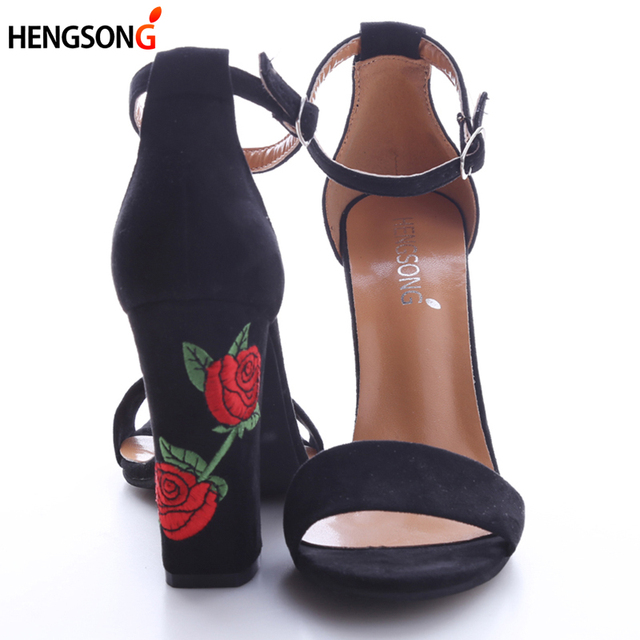 Autumn Suede Shoes Woman Summer Sandal Embroider High Heel Women Sandals Ethnic Flower Floral Party Shoe Plus Size Zapatos Mujer
