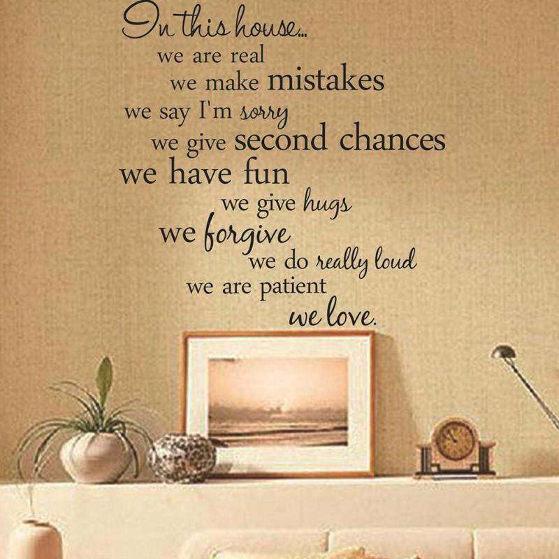 Anglais Texte Mur Autocollants Proverbes Dans Cette Maison Salon Tv