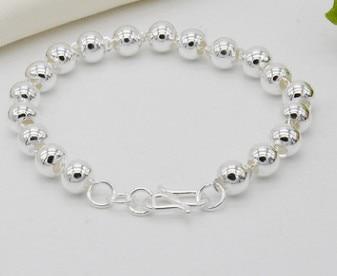 Argent 990 bracelets perles 7mm couple bracelet femmes accessoires