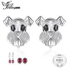 JewelryPalace Schnauzer Terrier Dog Puppy Pet Lover Genuine Black Spinel Stud Earrings 925 Sterling Silver Jewelry for Women