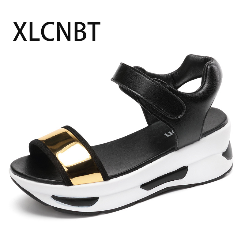 new 2018 thick bottom pep toe sandals women soft bottom shoes female shoes fashion increased comfortable summer sandal new summer sandal high heel women thick bottom female sandals casual shoes fashion leather sandal comfortable sweet cute woman