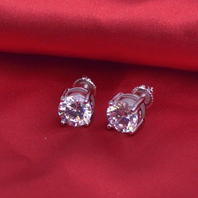 LSE936 SCREW BACK Earrings Large 8mm Round CZ Studs 925 sterling silver earrings 8mm,