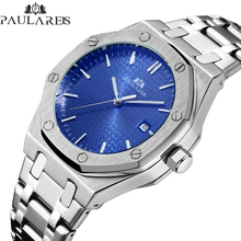 Men Automatic Self Wind Mechanical Stainless Steel Strap Simple Business Blue Ro