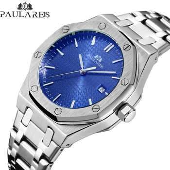 Montre homme automatique vent automatique mécanique bracelet en acier inoxydable Simple affaires bleu Rose or jaune or montre Date