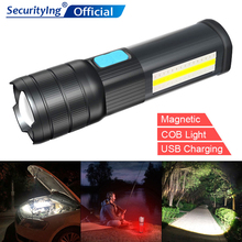 SecurityIng Highlight Mode T6/L2 LED 5V COB USB Charging Magnetic Light Waterproof Flashlight Maintenance Emergency Work