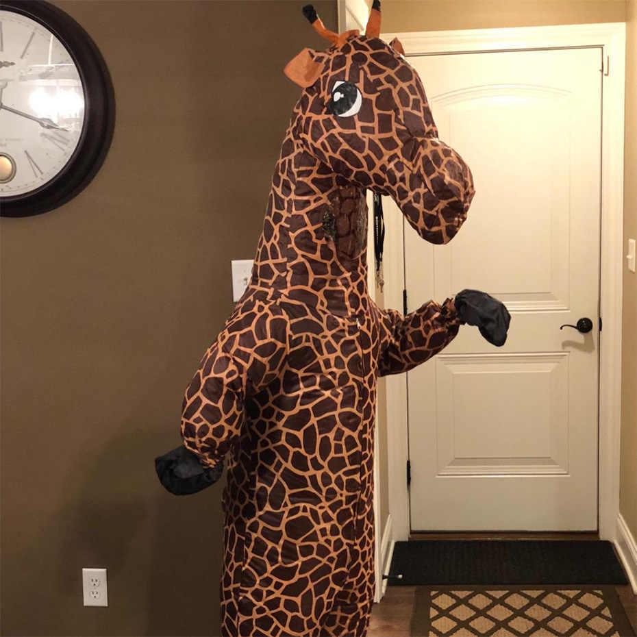 Girafa animal inflável traje do Dia Das Bruxas para mulheres dos homens para cosplay adulto onesies mascote milagrosa do feriado festa macacão