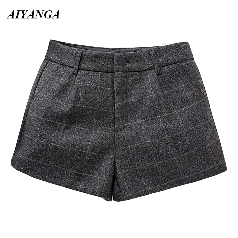 XL-5XL Women Wool   Shorts   2018 Autumn Winter Woolen Plaid   Shorts   Female Slim Elegant Casual Plus Size   Shorts   Solid Gray