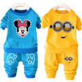 Promotion boy clothing set Minions Minnie girls clothes long sleeve cotton children clothing wholesale price baby kid sport suit